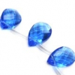 Sklenené brúsené kvapky 12x18 mm-2 ks--modré