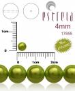 voskované perličky 4mm/31 ks/metalické zelené