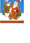 Santa Claus s darčekmi a snehuliakom na modrom
