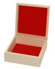 Drevená krabička so semišovou výplňou,15x15x6cm