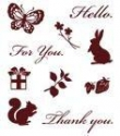 Silikónové pečiatky-Zajac, veverička a motýľ