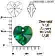 Swarovski HEART 6228 -14x14 mm,smaragd AB