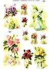 Ryžový papier 210x297mm- Kytičky kvetov vo vázach