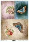 Ryžový papier 210x297mm- Motýle a retro ornamenty