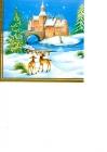Srnky na snehu a kostolík s vianočným stromčekom