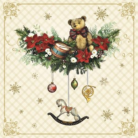 Macko na vianočnej girlande