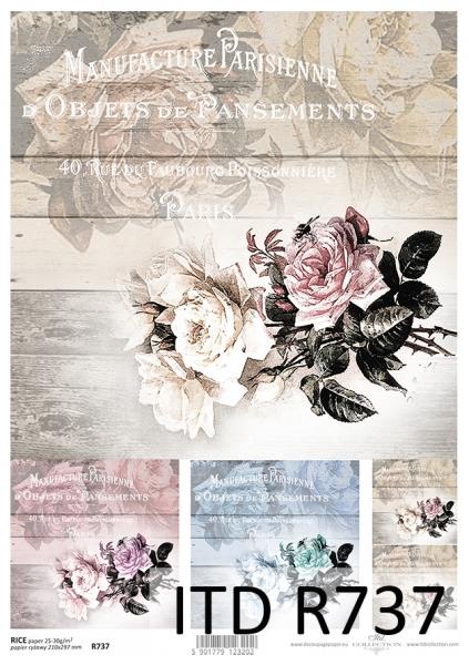 Ryžový papier 210x297mm- Nostalgické ruže d227f6cb5fd