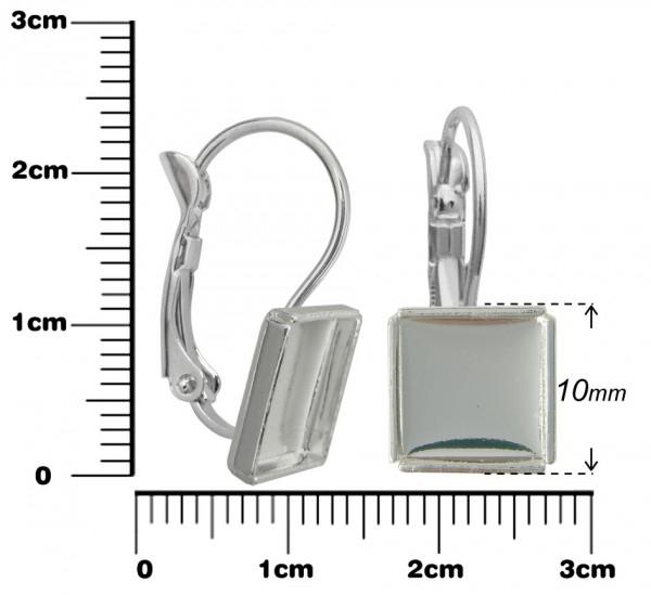 Lôžko na živicu Náušnice so štvorcom 12x12 mm,2ks