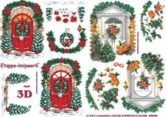 3D obrázky-Vchodové dvere s vianočnou výzdobou