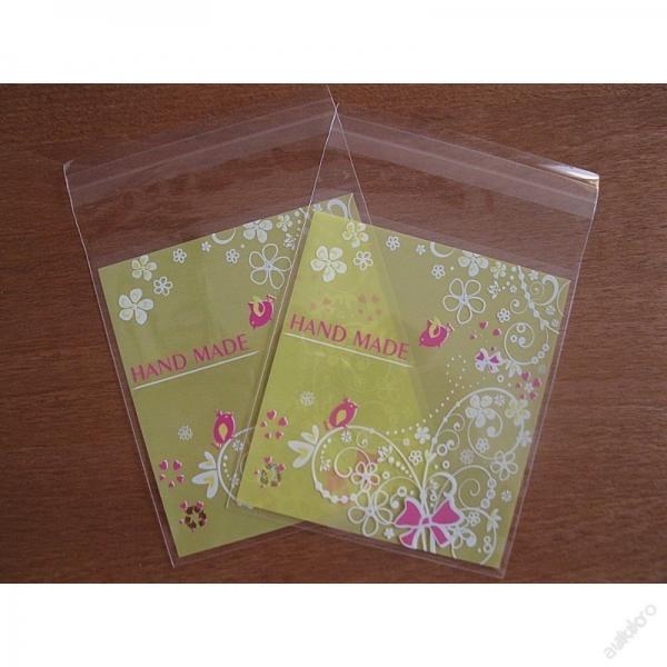 Celofánové sáčky Handmade s vtáčikom/ 10 ks